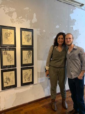 artista Samuel Wolf e professora do IFSul Inessa Carrasco