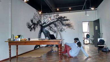 Processo do grafite do artista Fábio Eros.