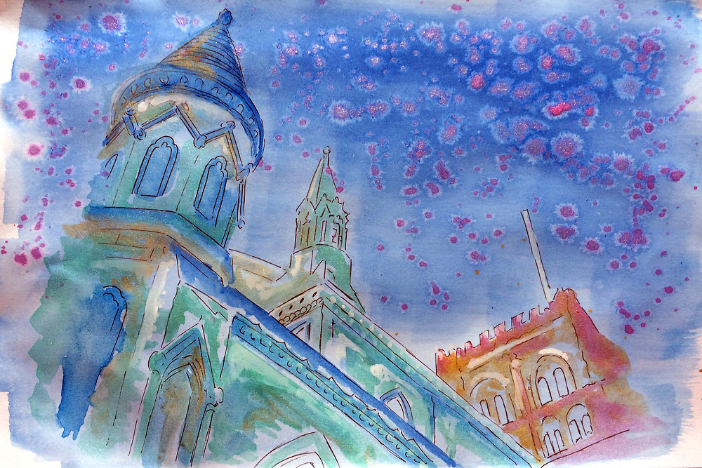 St Albans Cathedral in Indian Inks