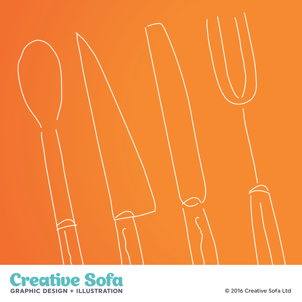 Cutlery Illustration for an IGD Brochure