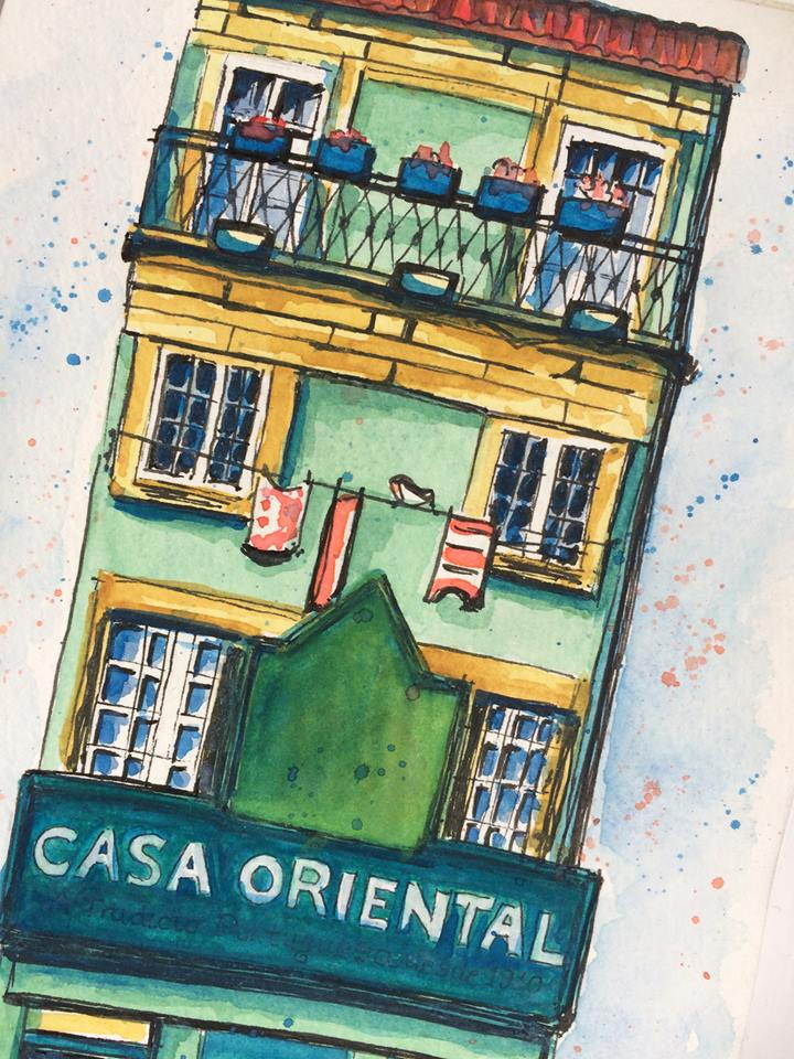 Urban Sketching Casa with Watercolours