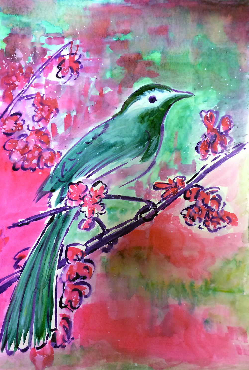 Bird created with indian inks
