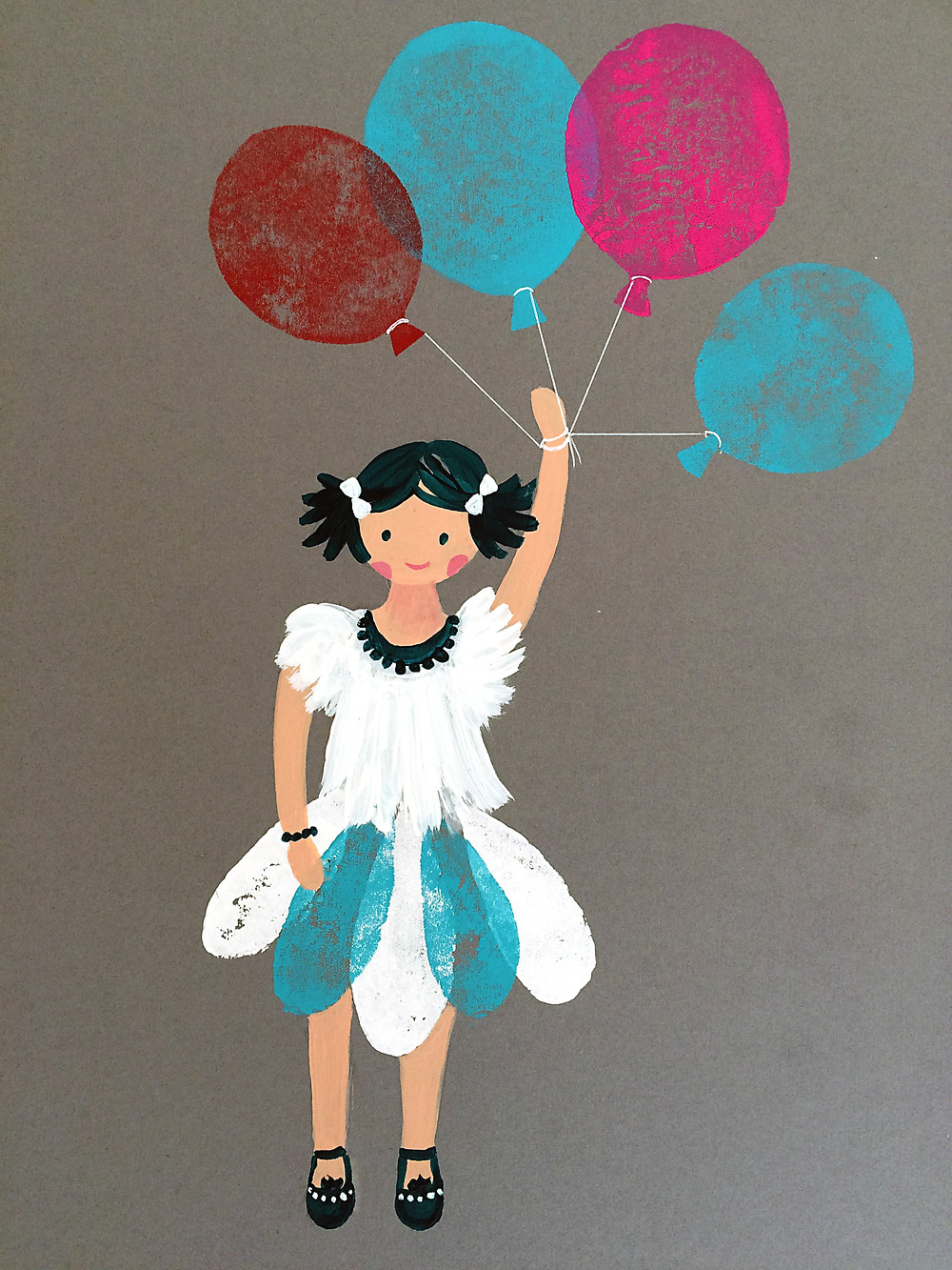 Lino Cut and Stamped Balloons Picture