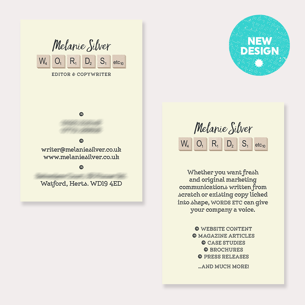 New Business Card Design – Melanie Silver Copy Writer