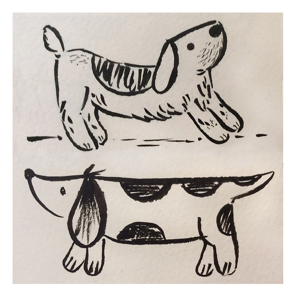 Dog sketches in brush pen