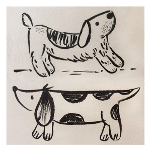 Dog sketches in brush pen