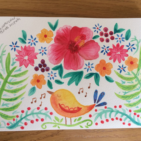 Watercolour Fun - Floral Wreath with Birds