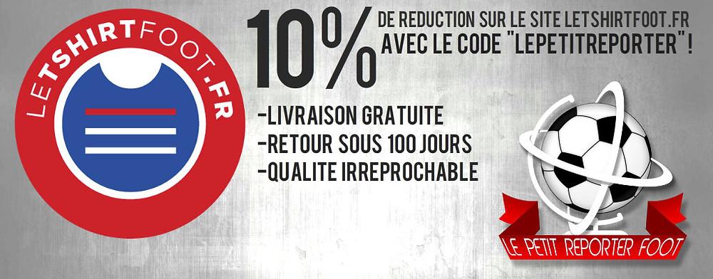 10% de réduction sur le site letshirtfoot.fr avec le petit reporter foot