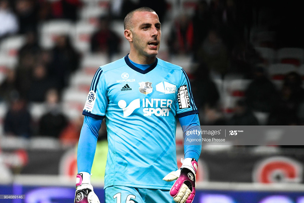 Jean-Christophe Bouet sous le maillot d'Amiens, en Ligue 1, contre Nice - janvier 2018 - Getty Images