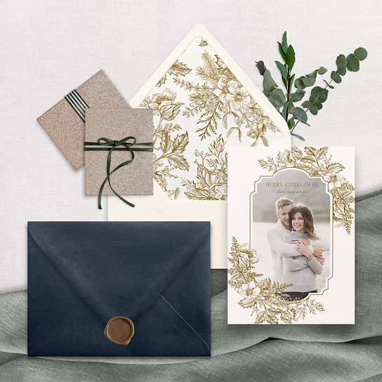 Christmas Card Floral Modern Romantic Navy Blue Envelope Wax Seal Envelope Liner