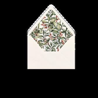 Christmas Card Floral Modern Romantic Navy Blue Envelope Wax Seal Envelope Liner