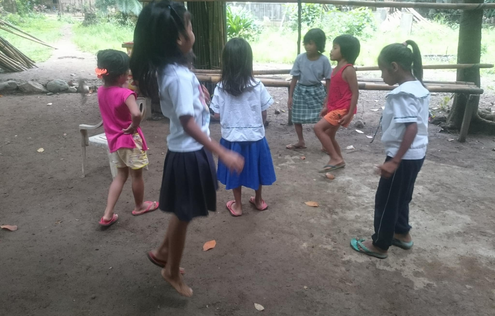 A group of small girls playing