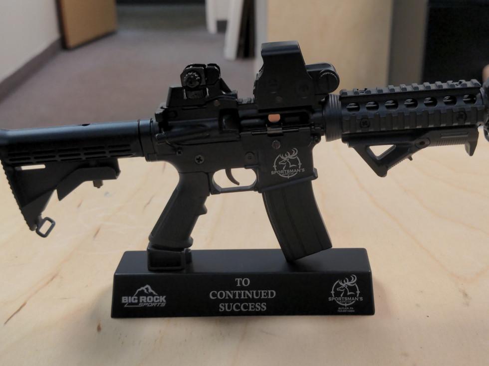 Engraved Metal Gun Mini Model Award
