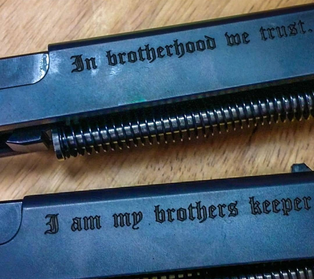 Steel Handgun Slide Engraving
