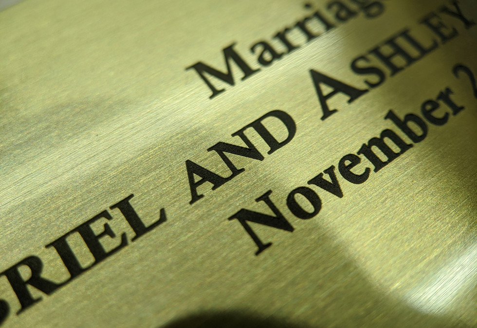 Brass Marriage Plaque Engraving