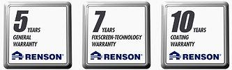 Billeder af Renson garantier. 5 års på motor, og anlæg. 7 års garanti på screendugen og 10 års garanti på lakeringen.