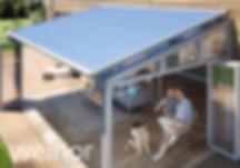 weinor WGM Top udestue markise. Monteres over taget, så den fjerner både dn skarpe sol, og varmen.