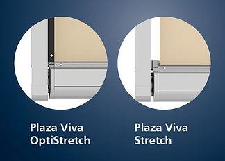 På billedet ses de to forskellige versioner af Plaza Viva fra weinor, som man kan få. Plaza Viva Stretc, og Plaza Viva OptiStretch.