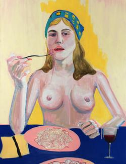 Lauren eating Pasta