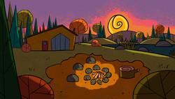 G1_MemeMuwinsCabin Ext Fire Pit_Sunset_C