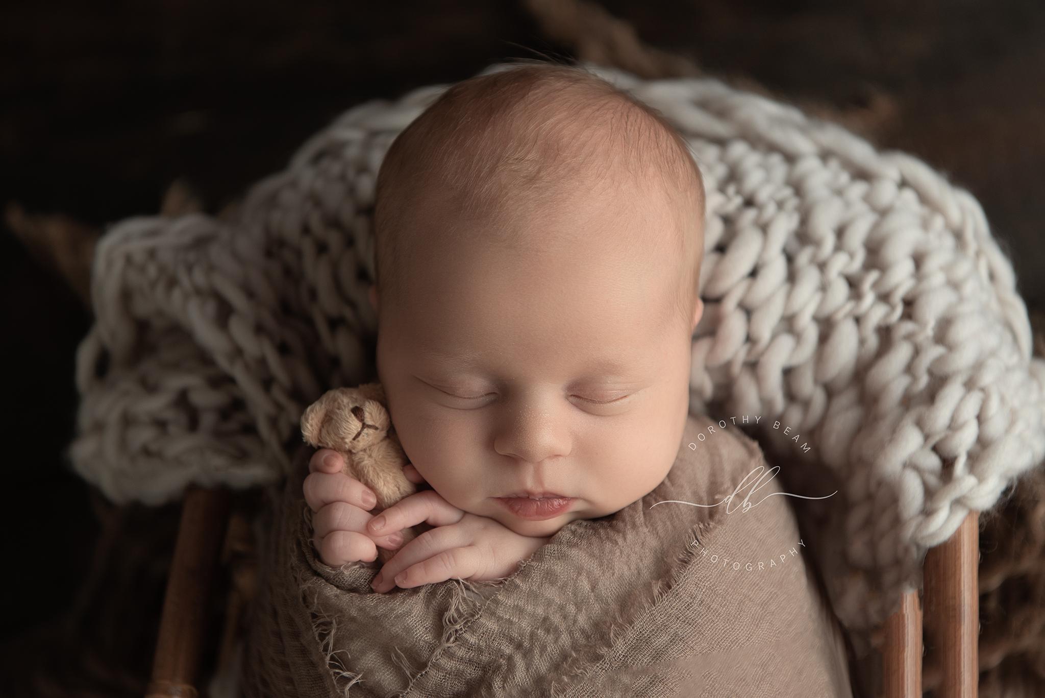 Newborn Boy Teddy Bear Wrapped Dayton Oh