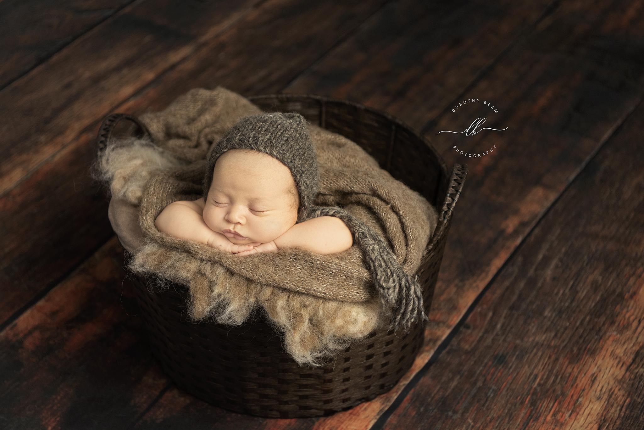 Boy Tan Brown Basket Older Newborn Baby.