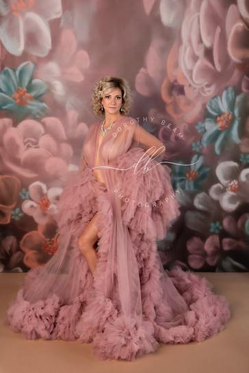 Woman Blush Pink Robe Fine Art Floral Fu