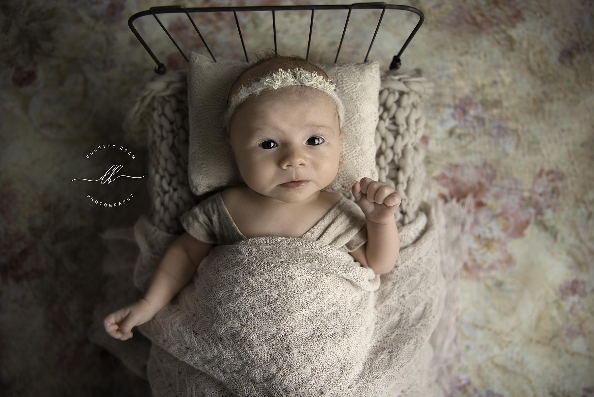 Newborn Baby Girl Awake 7 Weeks Old Pink