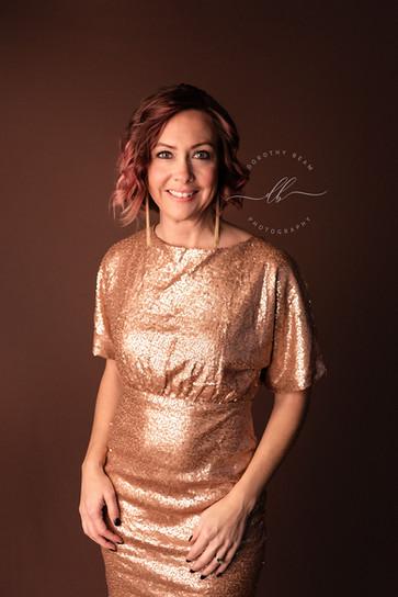 Woman Gold Glitter Dress Warm Brown Glam