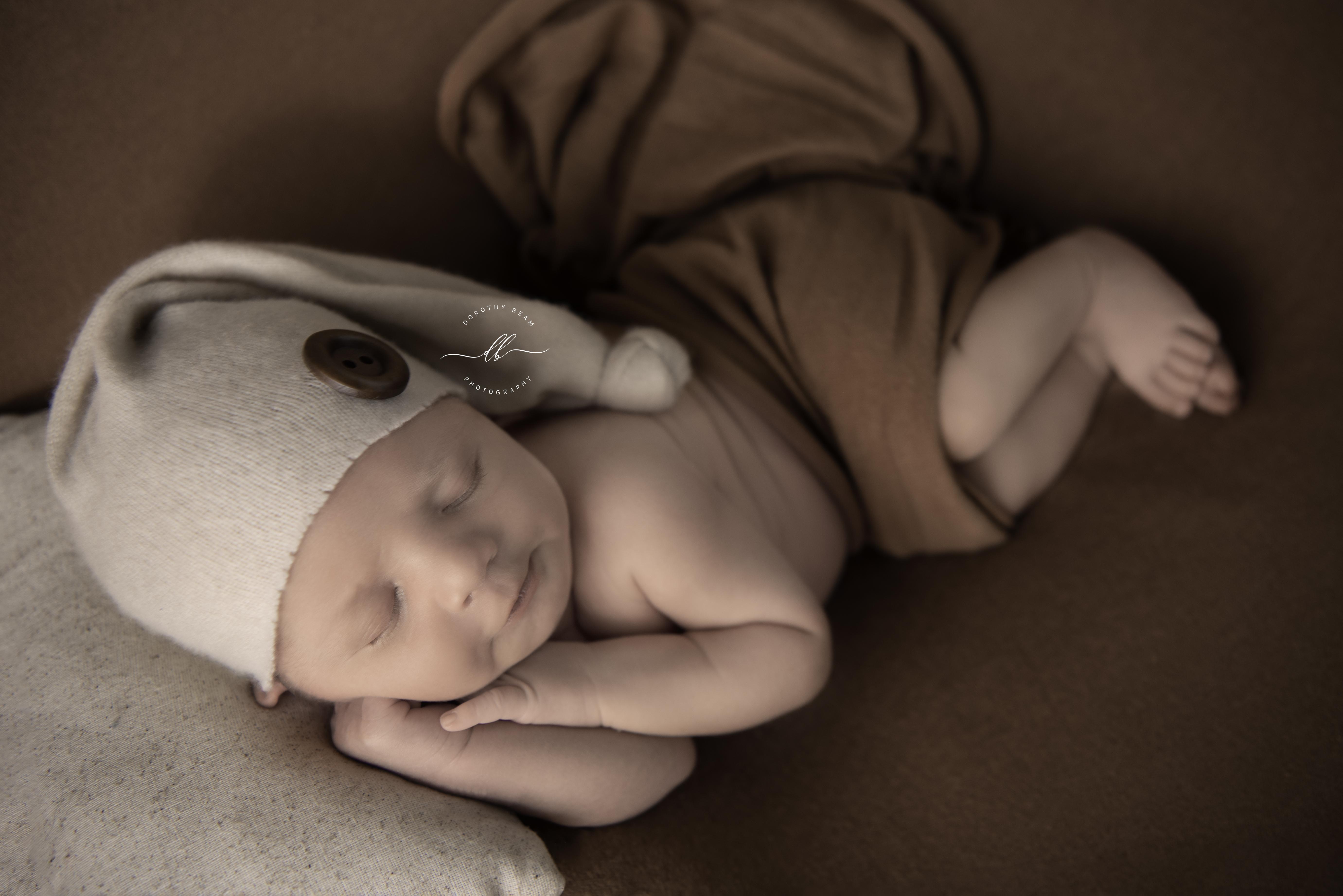 Boy Brown Camel Sleepy Hat Side Laying P