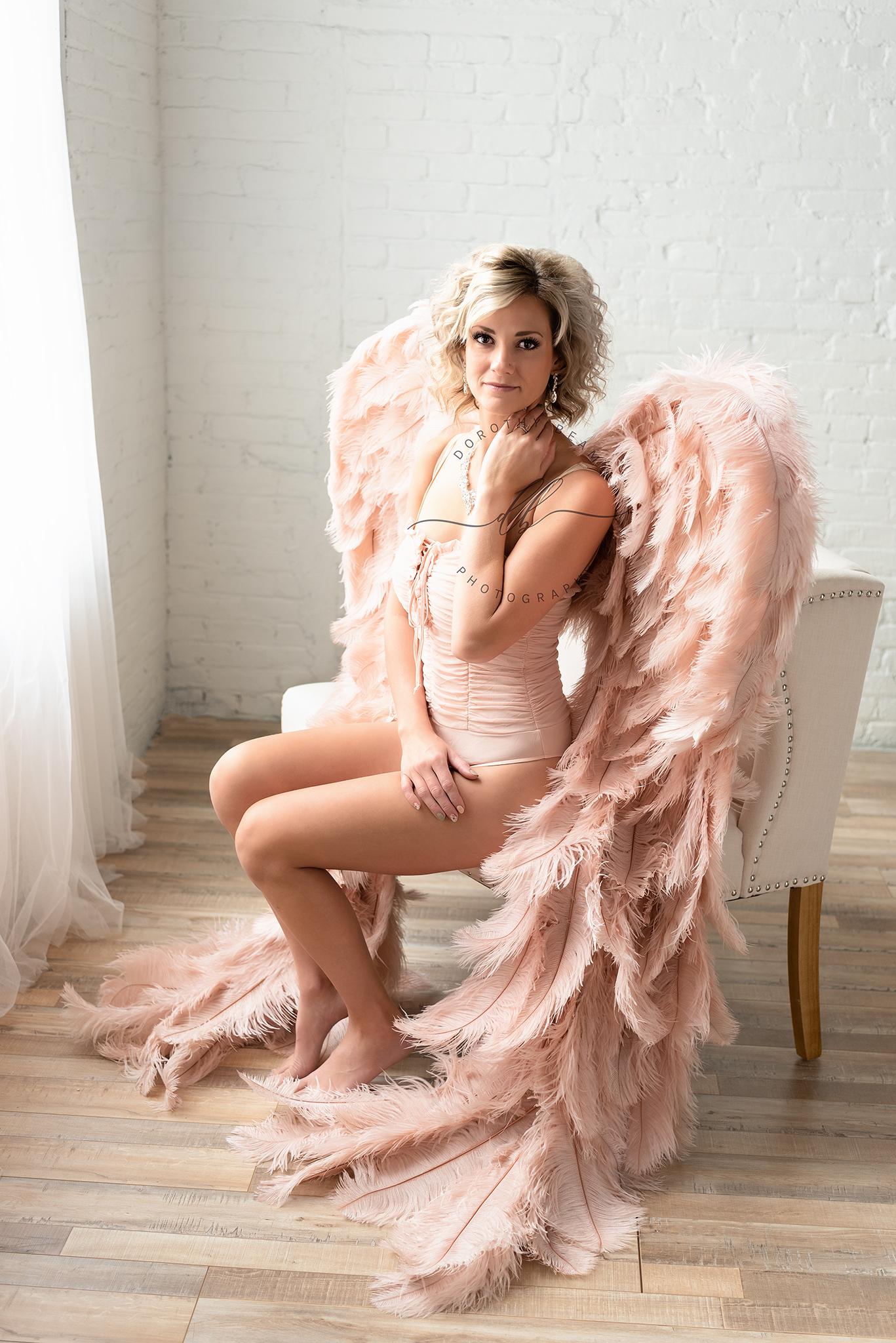 Woman Wings Boudoir Angel Sitting