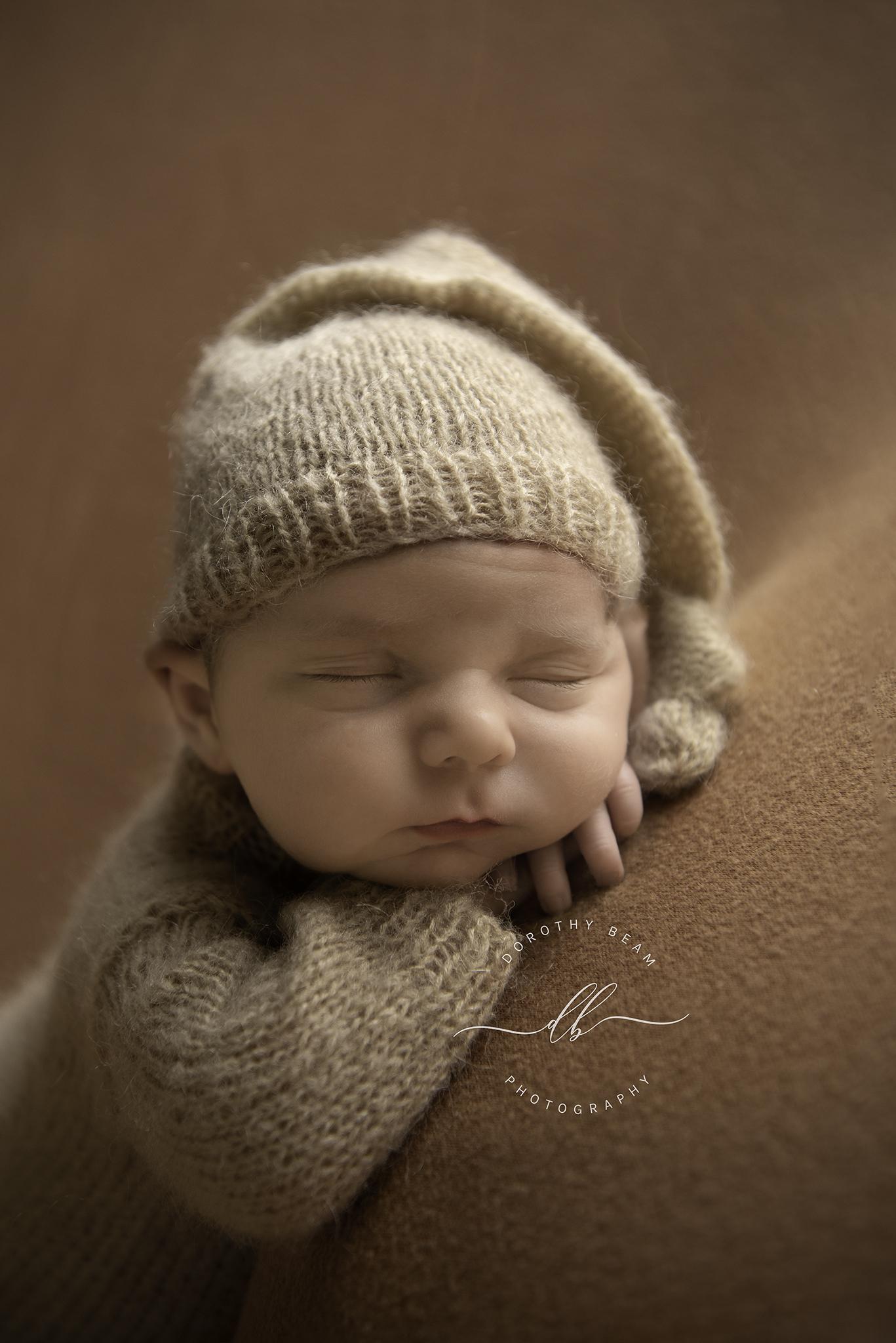 Boy Tan Knit Sleeper Hat Chin on Hands B