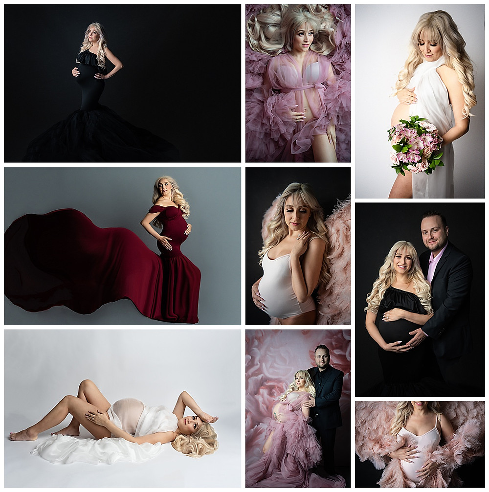 Maternity Collage with Blonde Pregnant Woman and Husband Luxury Sexy Photos