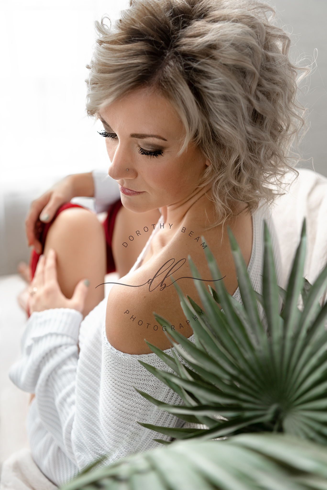 Relaxed Sexy Boudoir Woman Comfy Sitting