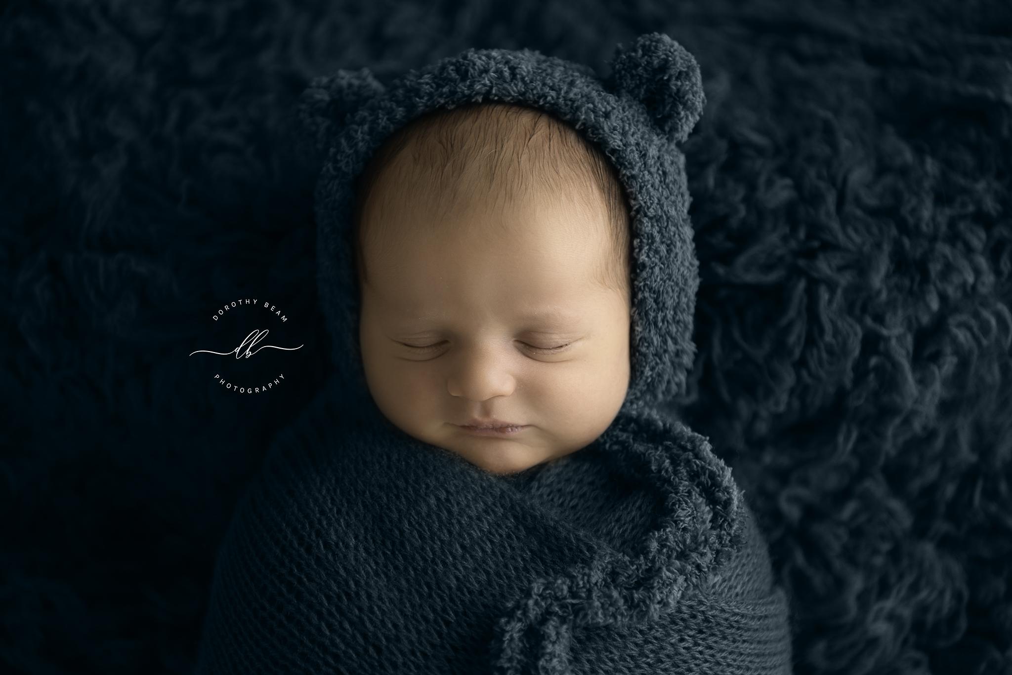 Boy Teal Fur Potato Sack Newborn Baby