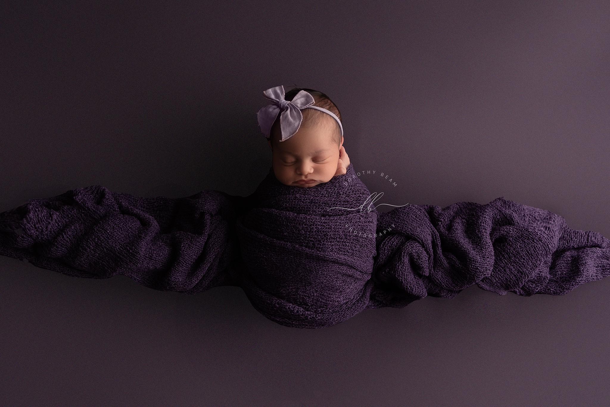 Newborn Baby Girl Purple Wrapped Dayton