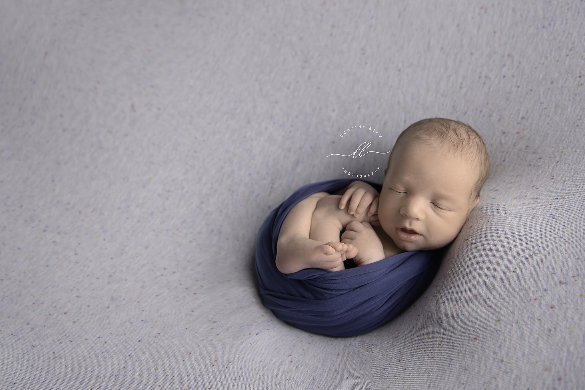 Boy Speckled Grey Blue Wrapped Newborn B