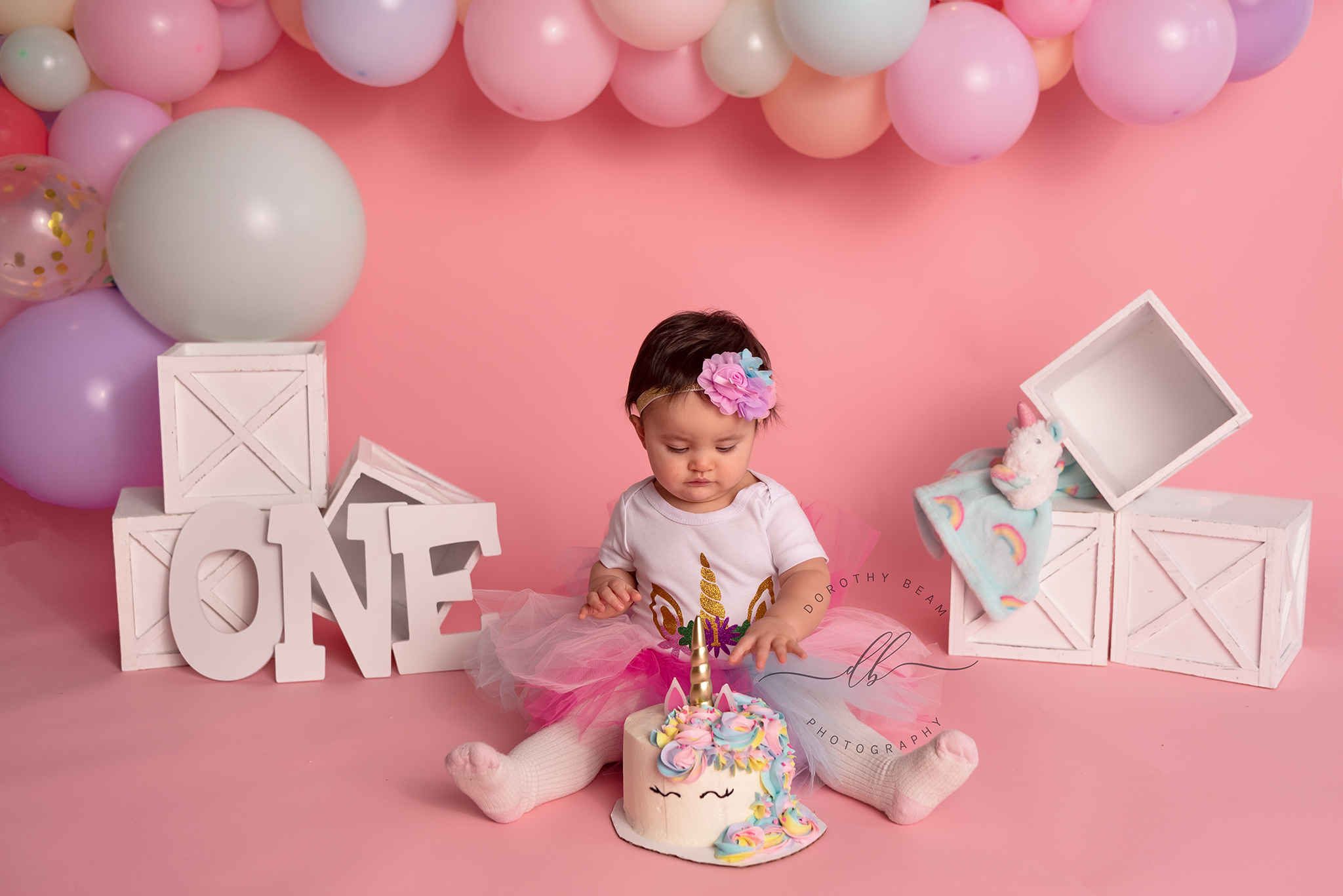 Baby Girl One Years Old Birthday Unicorn