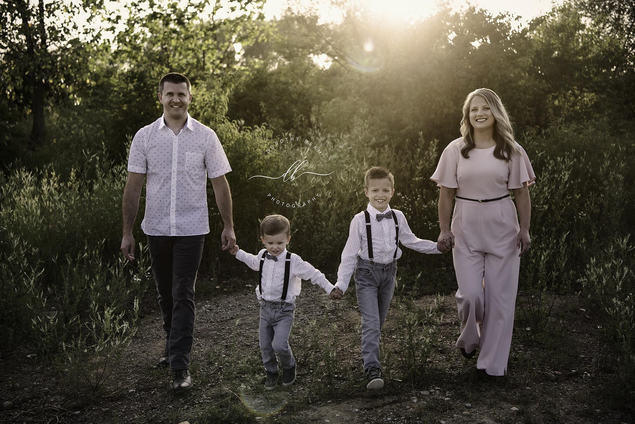 Family of 4 Boys Outside Sun Flare Walki