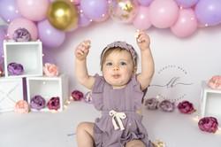 Baby Girl One Year Peonies Purple Pink D