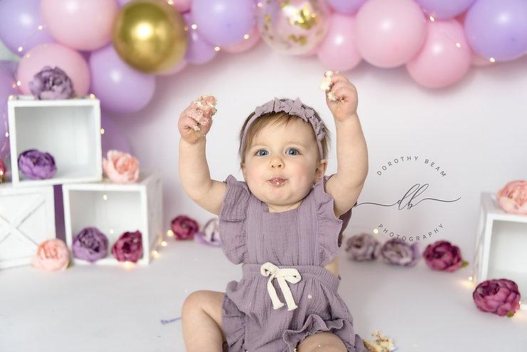 Baby Girl One Year Peonies Purple Pink Dayton Ohio Photographer.JPG