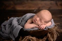 Boy Grey Bowl Chin on Hands Wood Newborn
