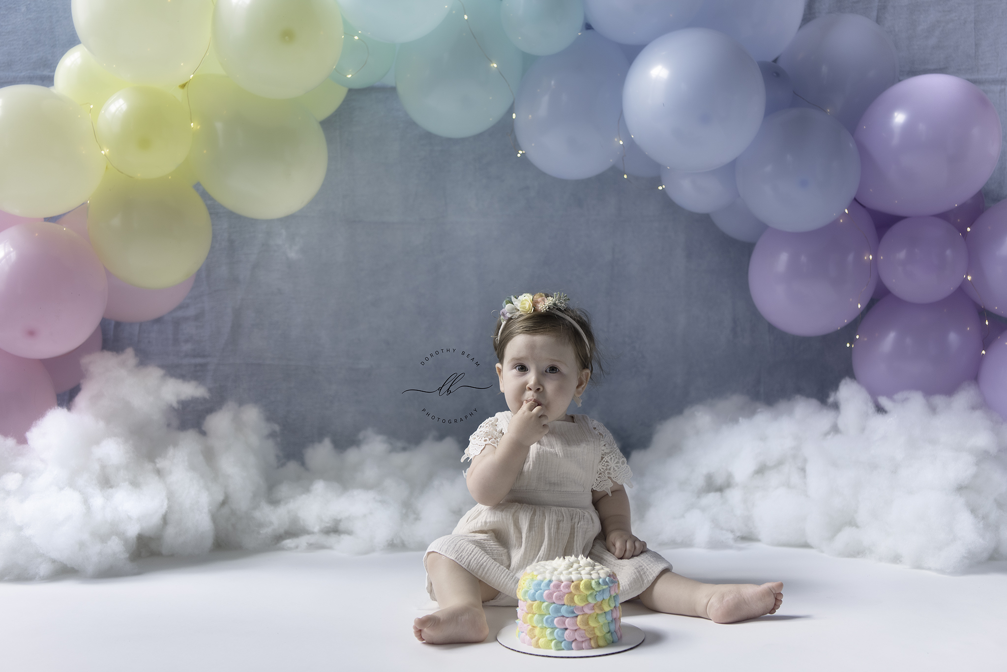 Girl Pastel Rainbow Baby Cake Smash One