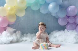 Girl Pastel Rainbow Baby Cake Smash One