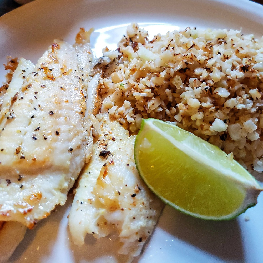Flounder and Garlic Rice Keto Dinner