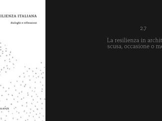 pubblicato il libro RESILIENZA ITALIANA dialoghi e riflessioni