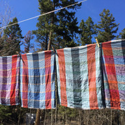 Towels drying outside after washing
