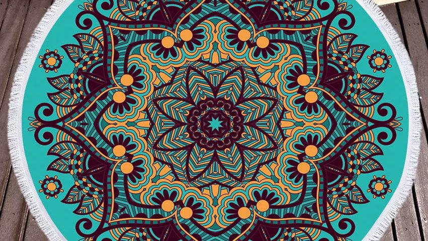 Round Mandala Towel with Tassels