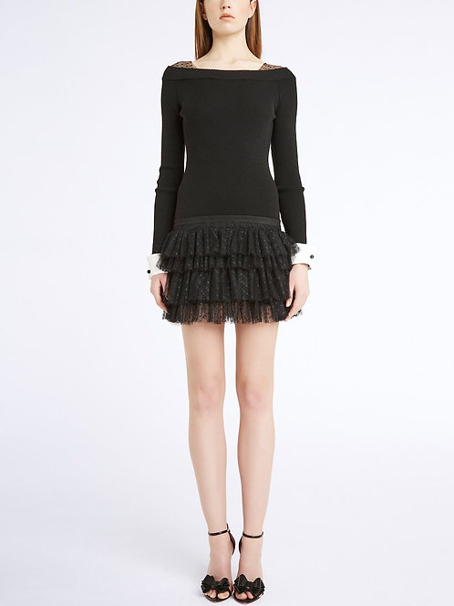 BLUMARINE Knit dress with flounces
