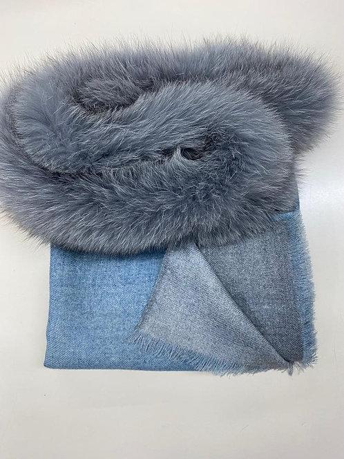 "AMA PURE ""Wool Double - Azzurro/Grey"" Scarf"